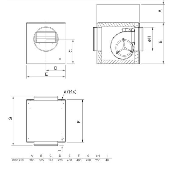 Systemair KVK 250 kruhový ventilátor - rozmery
