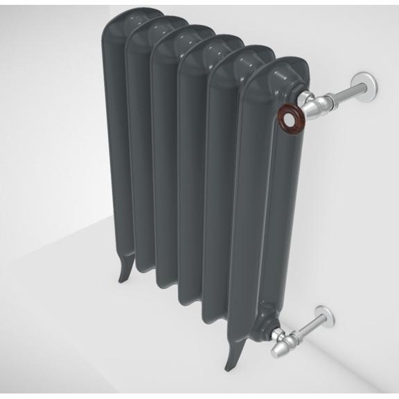 TERMA Plain retro radiátor farba Flat Black stojaci celok zboku