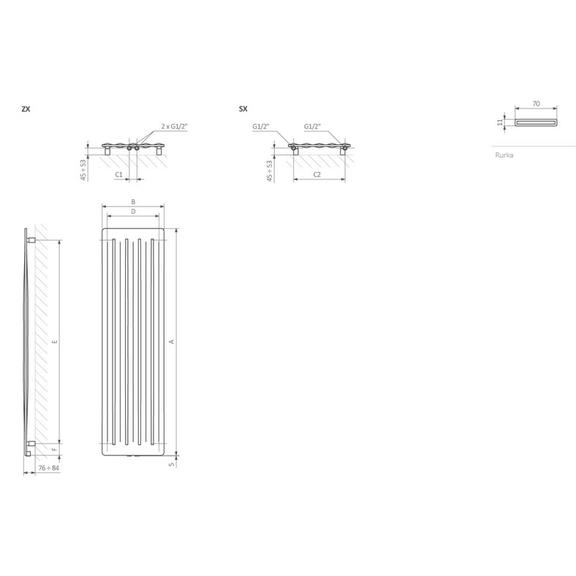 TERMA Aero V dizajnový radiátor Schéma