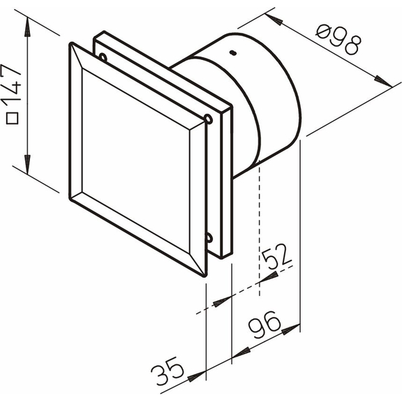Helios MiniVent M1/100 P dvojotáčkový ventilátor s pohybovým snímačom - rozmery