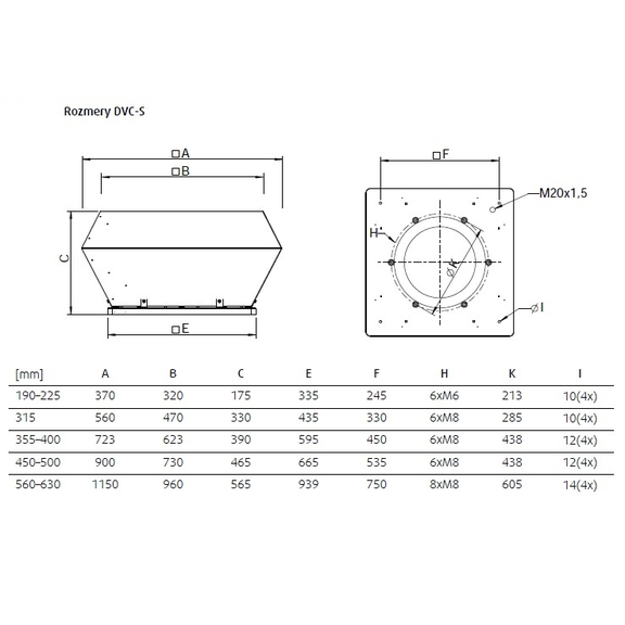 Systemair DVC S  - rozmery