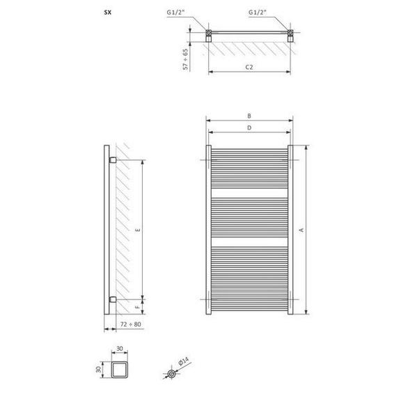 TERMA Mike dizajnový radiátor Schéma a rozmery
