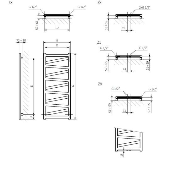 TERMA Vipera dizajnový radiátor - napájanie - schéma