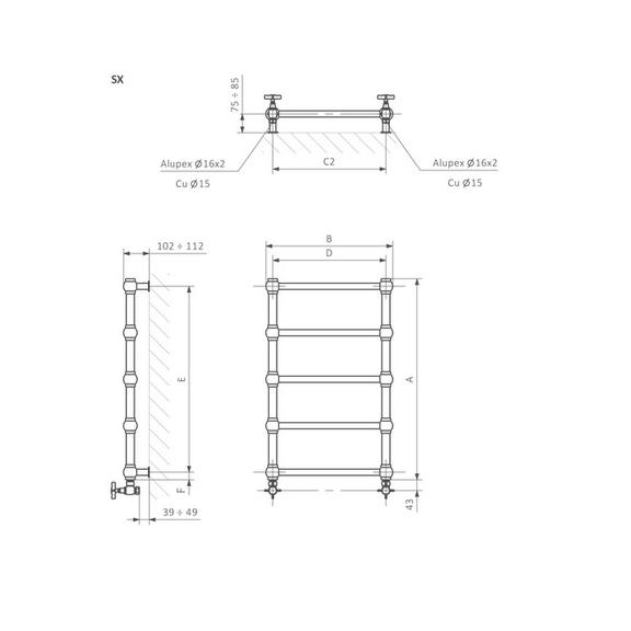 TERMA Retro dizajnový radiátor - rozmery - Schéma