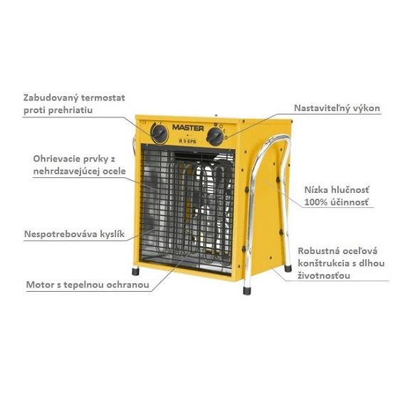 Master B 9 EPB profesionálny elektrický ohrievač s ventilátorom popis