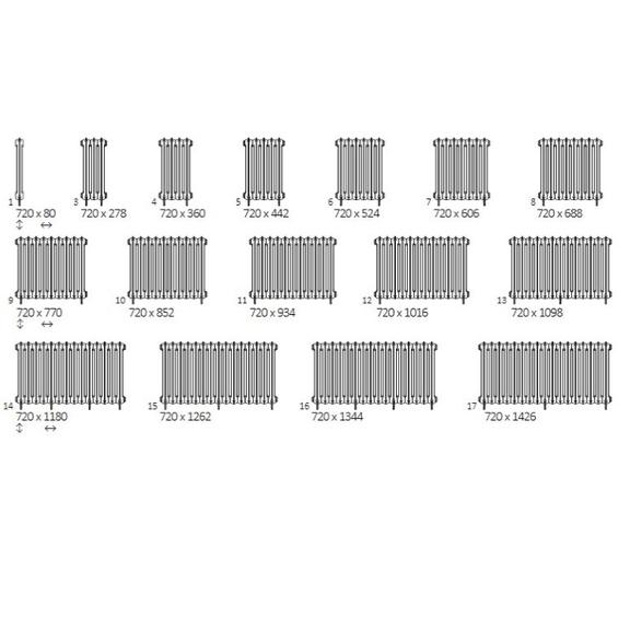 TERMA Plain retro radiátor 720x688 stojaci dostupné veľkosti