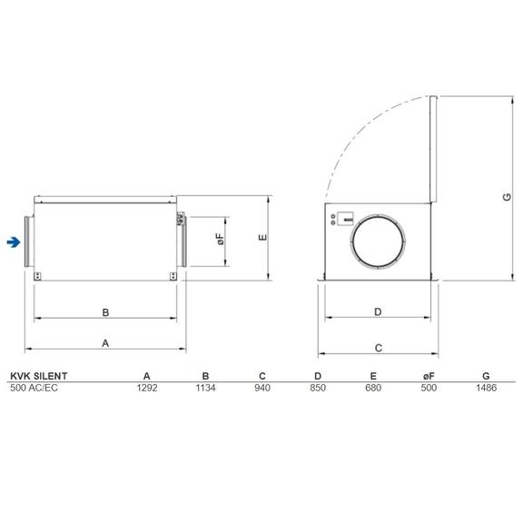 Systemair KVK Silent 500 kruhový ventilátor - rozmery