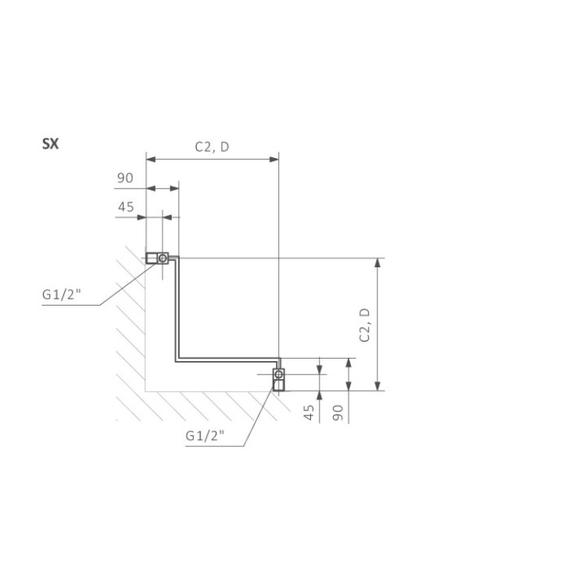 TERMA incorner rohový radiátor - Technický nákres