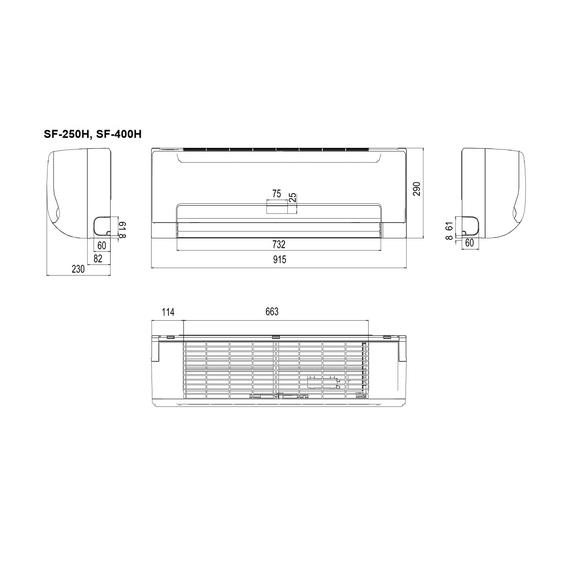 Sinclair SF-250H nástenný fancoil - Schéma prístroja