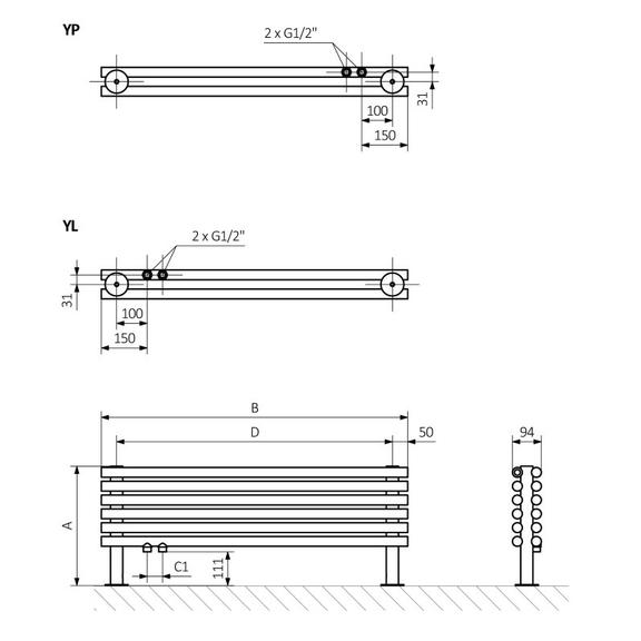 TERMA Tune HSD dizajnový radiátor pod okno Schéma