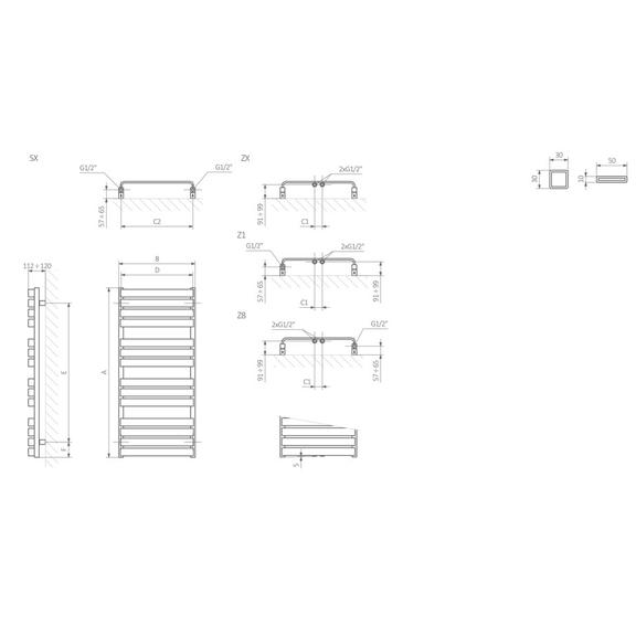 TERMA Warp T dizajnový radiátor Schéma
