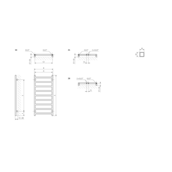TERMA Simple dizajnový radiátor Schéma