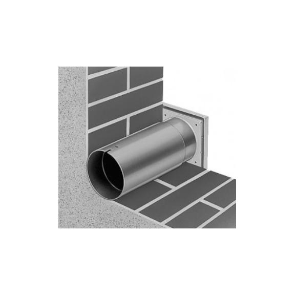 Helios Teleskopický prestup stenou + exteriérová mriežka WES 100 - detail prestupu a mriežky