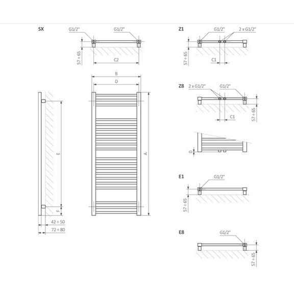 TERMA Bone elektrický kúpeľňový radiátor rozmery - schéma