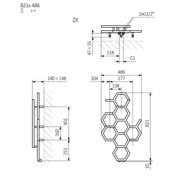 TERMA Hex dizajnový radiátor 821x486mm Schéma