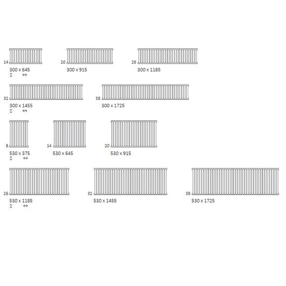 TERMA Nemo dizajnový radiátor Dostupné veľkosti