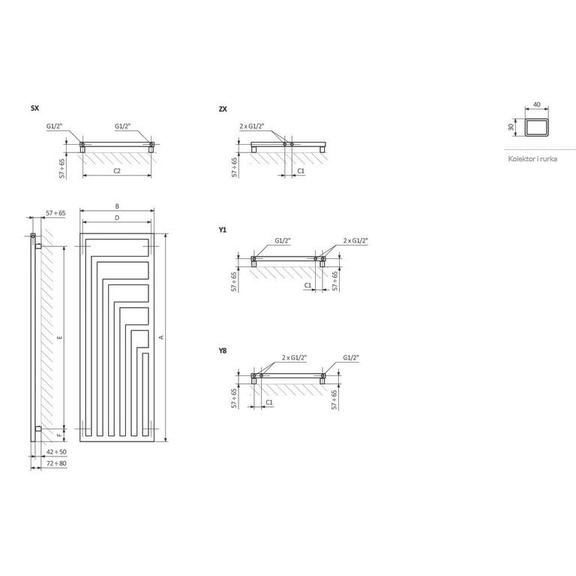 TERMA Angus V dizajnový radiátor rozmery - schéma