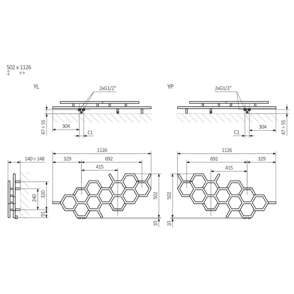 TERMA Hex dizajnový radiátor 502x1126mm Schéma
