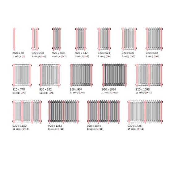 TERMA Plain retro radiátor 920x688 stojaci dostupné veľkosti