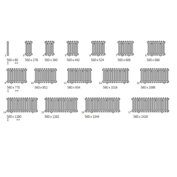 TERMA Plain retro radiátor 560x688 dostupné veľkosti