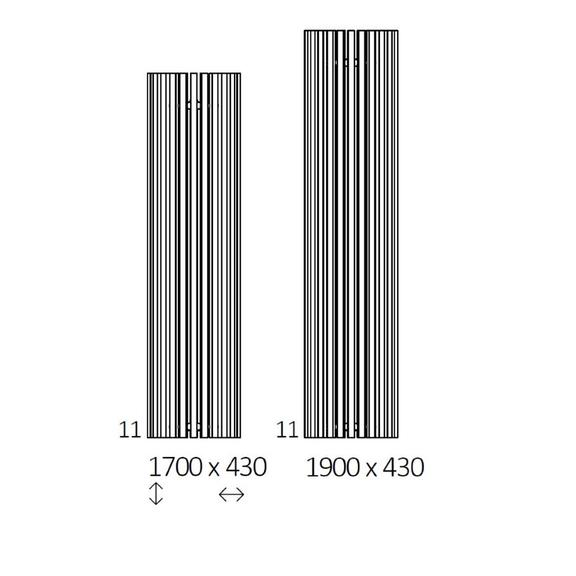 TERMA Triga AW dizajnový radiátor Dostupné veľkosti