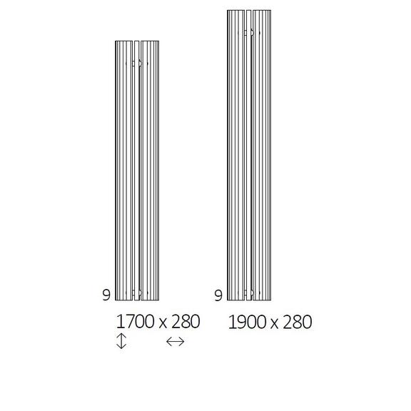 TERMA Triga AN dizajnový radiátor Dostupné rozmery