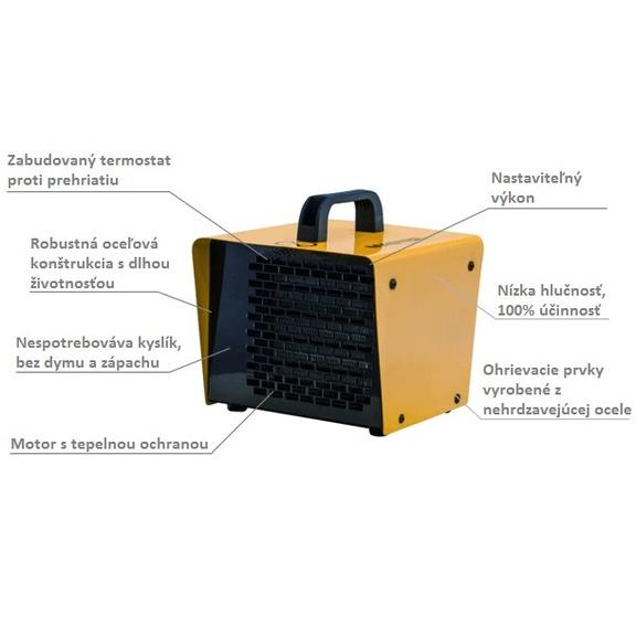 Master B 2 PTC domáci elektrický ohrievač s ventilátorom popis