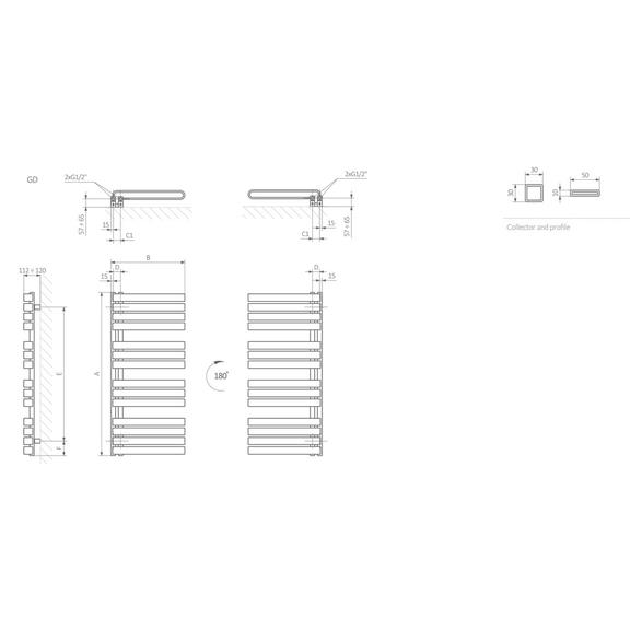 TERMA Warp S dizajnový radiátor Schéma