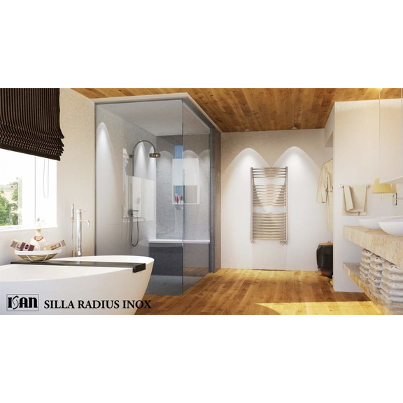 ISAN Silla Radius Inox elektrický nerezový radiátor interiér
