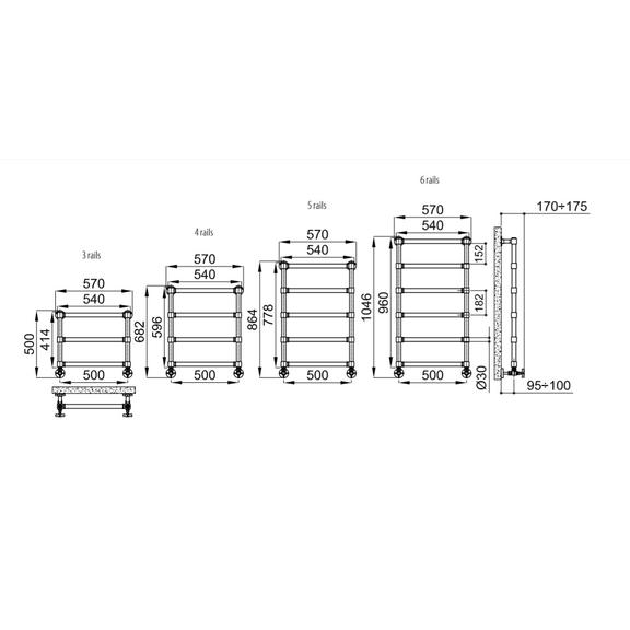 IRSAP Minuette chrómový kúpeľňový radiátor - veľkosti