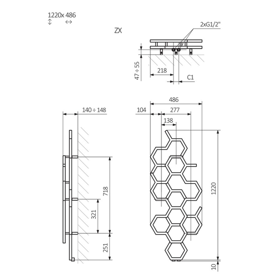TERMA Hex dizajnový radiátor 1220x486mm Schéma
