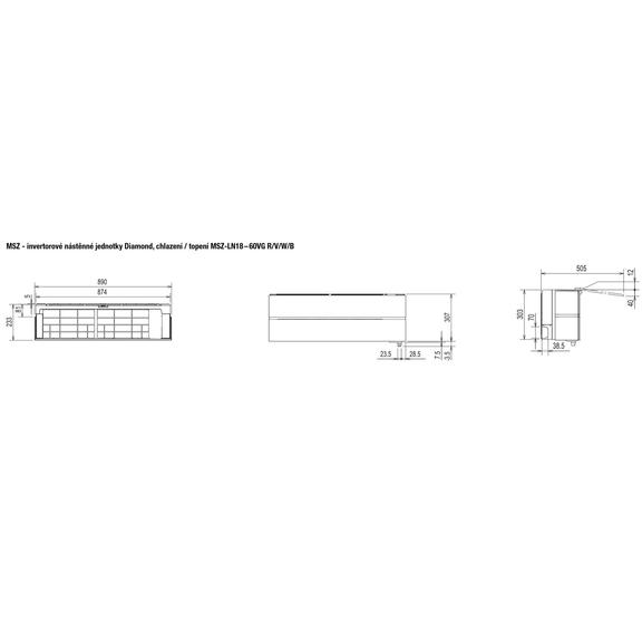 Mitsubishi MSZ-LN18 – 60VG R/V/W/B - rozmerová schéma