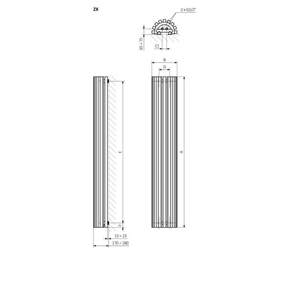 TERMA Triga AN dizajnový radiátor Schéma