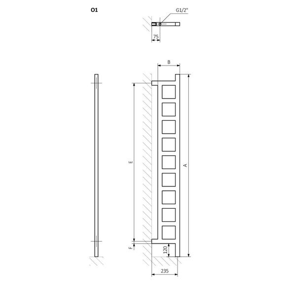 TERMA Easy DW vertikálny radiátor Schéma