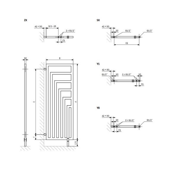 TERMA Angus DW dizajnový radiátor - rozmery - schéma