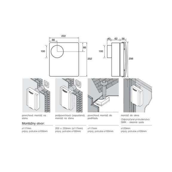 Ventilátor Xpelair DX 200 Premier - rozmery