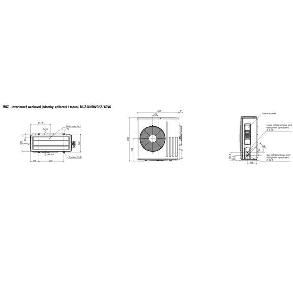 Mitsubishi MUZ-LN50VGHZ / 60VG - rozmerová schéma