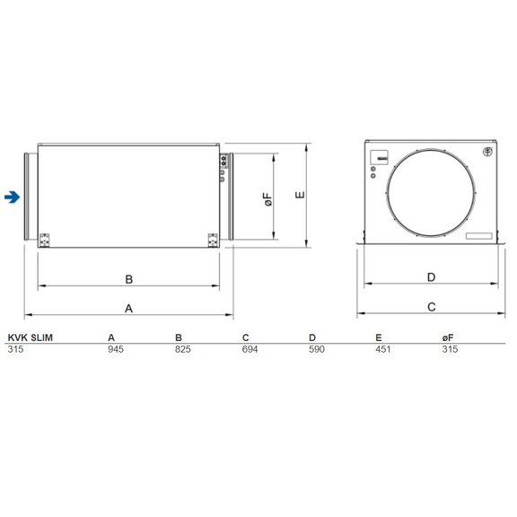 Systemair KVK Slim 315 kruhový ventilátor - rozmery