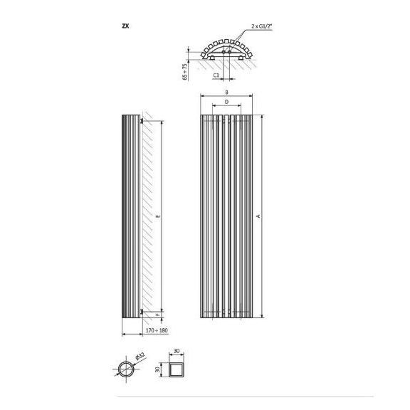 TERMA Triga AW dizajnový radiátor Schéma