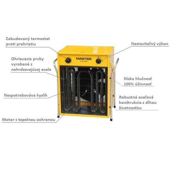 Master B 22 EPB profesionálny elektrický ohrievač s ventilátorom popis
