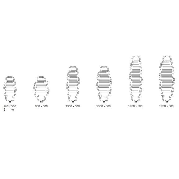 TERMA Perla dizajnový radiátor - Dostupné veľkosti
