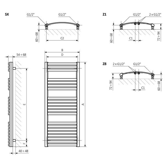 TERMA Dexter kúpeľňový radiátor Schéma