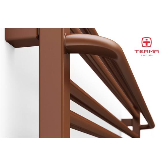 TERMA Lima kúpeľňový radiátor 500x1000 RAL8004 detail - zboku