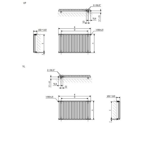 TERMA Nemo dizajnový radiátor Schéma2