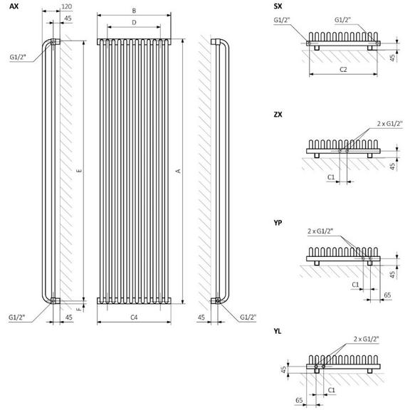 TERMA Delfin dizajnový radiátor  Schéma prevertikálnu verziu