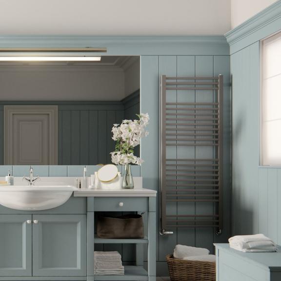 TERMA Bone kúpeľňový radiátor v interiéri 1510x600 Metallic Stone detail