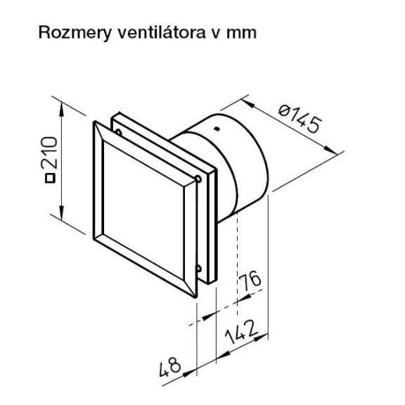 Helios MiniVent M1/150 dvojotáčkový štandardný ventilátor  s EC motorom - rozmery