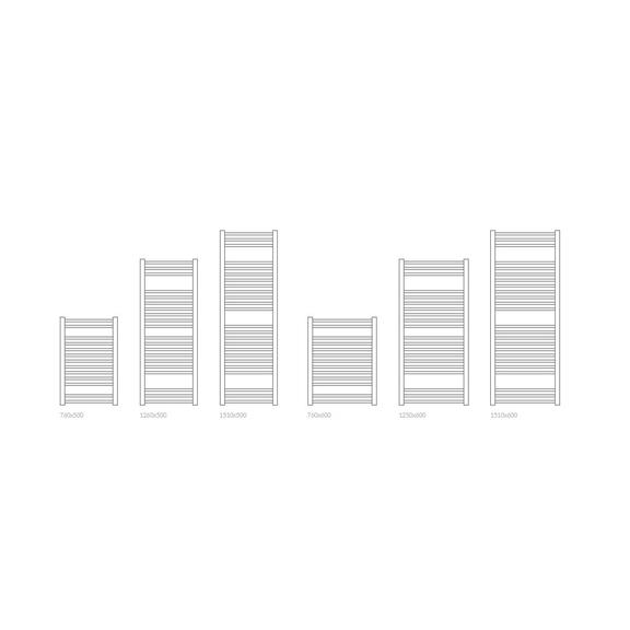 TERMA Bone kúpeľňový radiátor - Dostupné veľkosti