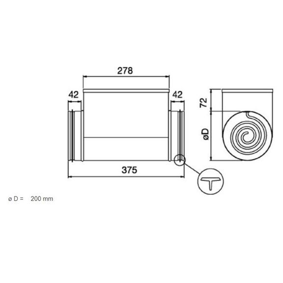 Systemair CB 200-2,1 elektrický ohrievač do kruhového potrubia - rozmery