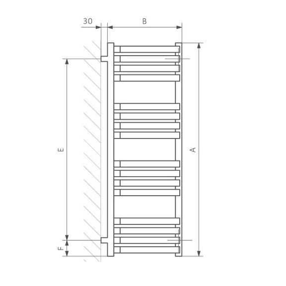 TERMA incorner rohový radiátor - Technický nákres - schéma